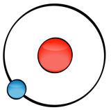 illustration of an atom on white background  poster