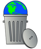 globe or earth tossed in garbage can - global waste poster