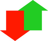 red down and green up arrow joined together  poster