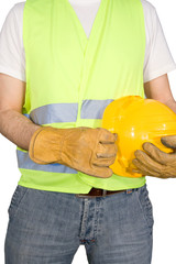 Construction worker isolated on white background.