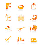 Cosmetics, visage, make-up objects icon set in orange poster