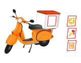 Delivery scooter for pizza, flowers and parcel in vector poster