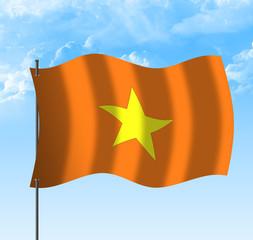 Drapeau du vietnam viet name , ciel et vent