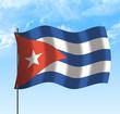 Drapeau de Cuba , ciel et vent