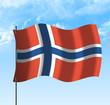 Drapeau de la Norvège , ciel et vent