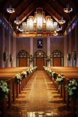 isle of a church on a wedding day