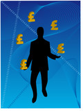 Business Man juggling pounds poster