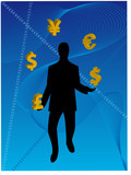 Business Man juggling currency poster