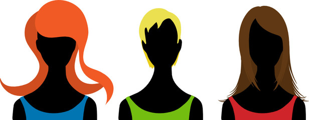 Three  silhouettes of woman. Vector illustration
