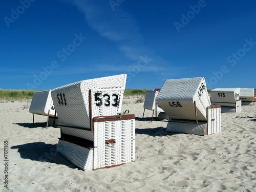 Leinwanddruck Bild Strandkörbe