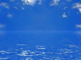 mer tropicale sous un ciel bleu outremer