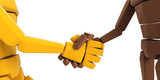 two symbolic hand make an agreement poster