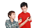 Teenagers compare cellular telephones poster
