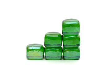 the success graph of green stones isolated over white