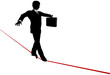 Business Man Balance Risk on High Wire Tightrope
