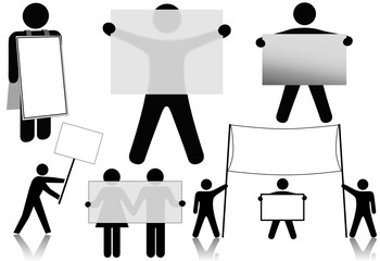 Symbol People Hold Sign Background Space