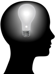 dea Woman Mind Light Bulb in Silhouette Head