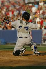 baseball catcher behind the plate