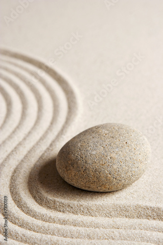canvas print picture Stone on raked sand