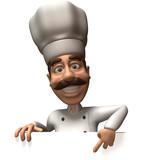 Fototapety Chef avec un panneau blanc