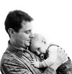 Father with his child isolated on white background
