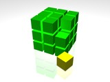 3D Green cube on the white backround