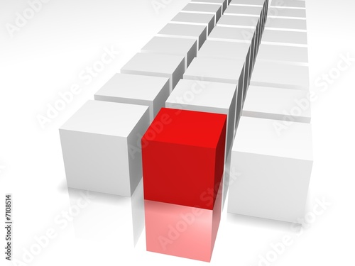 3D cubes of red and white