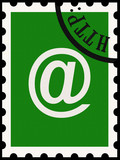 Illustration of postage stamp with e-mail symbol poster