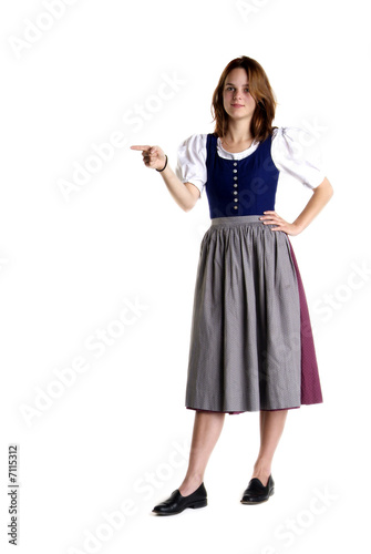 woman in Dirndl shows