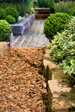 Pathway with stone and topsoil in calm garden poster
