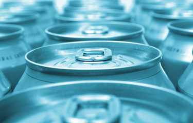 blue aluminum drink cans background
