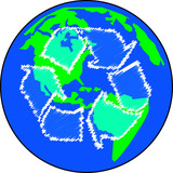 earth or globe with recycle arrows - global effort  poster