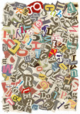Background with letters torn from newspapers, rough edges poster