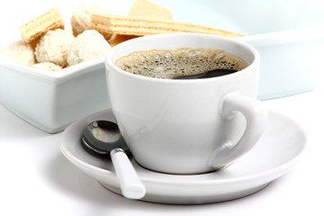 cup of hot coffee and delicious