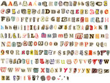 Torn newspaper letters alphabet poster