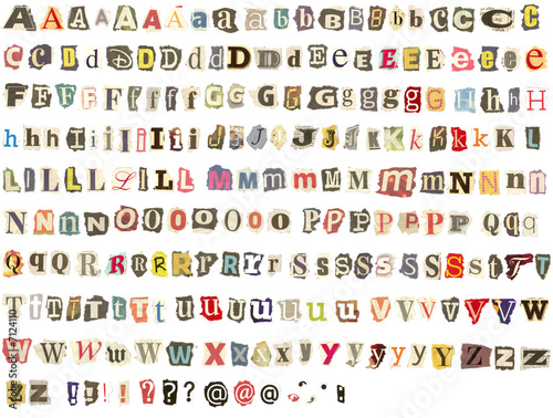 Torn newspaper letters alphabet