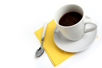 white cup of coffee isolated