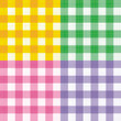 Four gingham seamless patterns with fabric texture