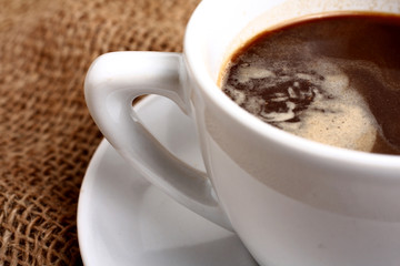 black coffee on brown background
