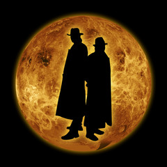 detectives on moon background