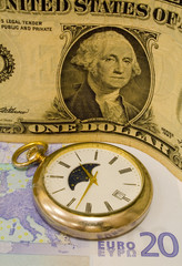 dolar,evro and clock