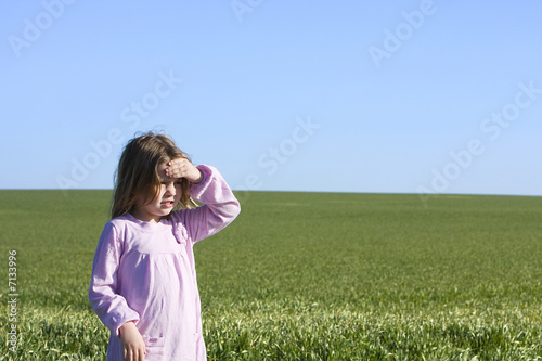 Young Girl - Green Field, Blue Skies