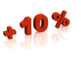 Red 3d inscription - plus of ten percent poster