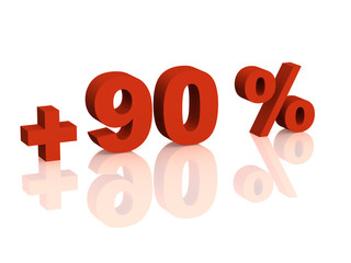 Red 3d inscription - plus of ninety percent