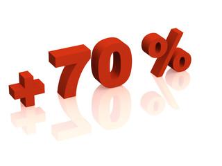 Red 3d inscription - plus of seventy percent