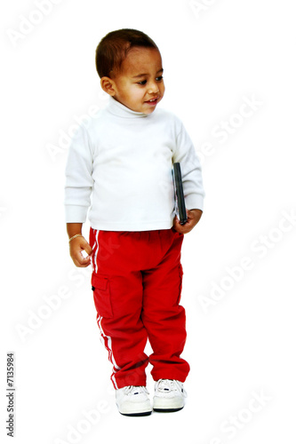 Isolated standing toddler/child holding DVD