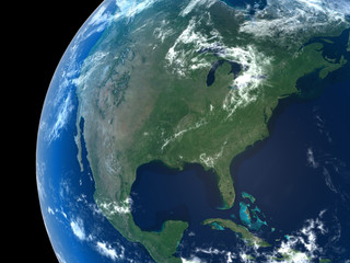 North America as seen from space with cloud formations