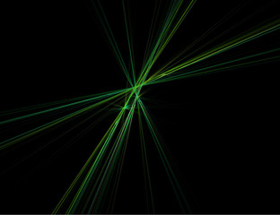 Abstract Laser Rays in Green Against Black
