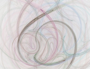 Abstract Pastel Colored Smoke Swirls on White