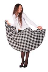 young pretty girl in squared petticoat